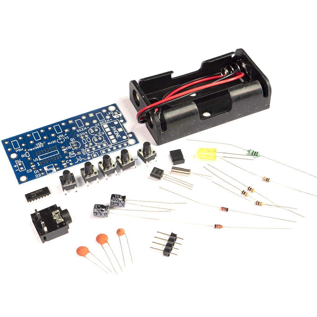 FM Radio kit components laid out separately