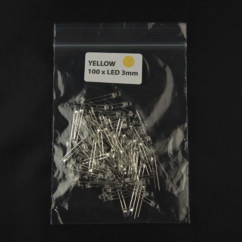 Pack of quantity 100 size 3mm LED with clear lens and color yellow