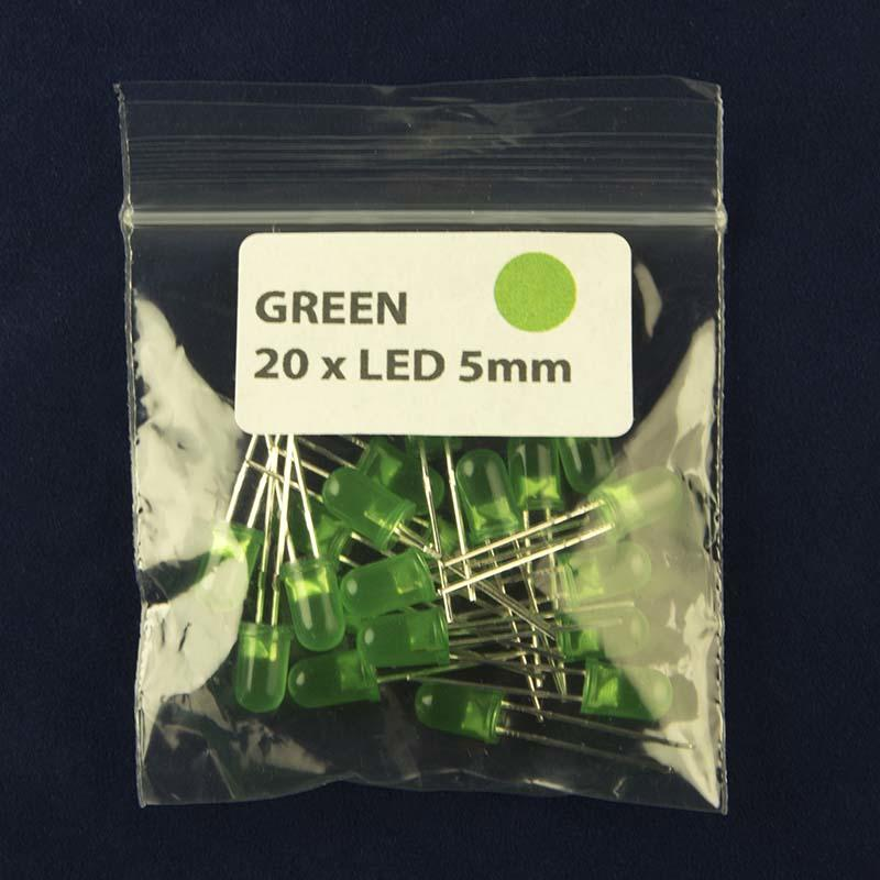Pack of quantity 20 LED size 5mm with diffused lens and color green