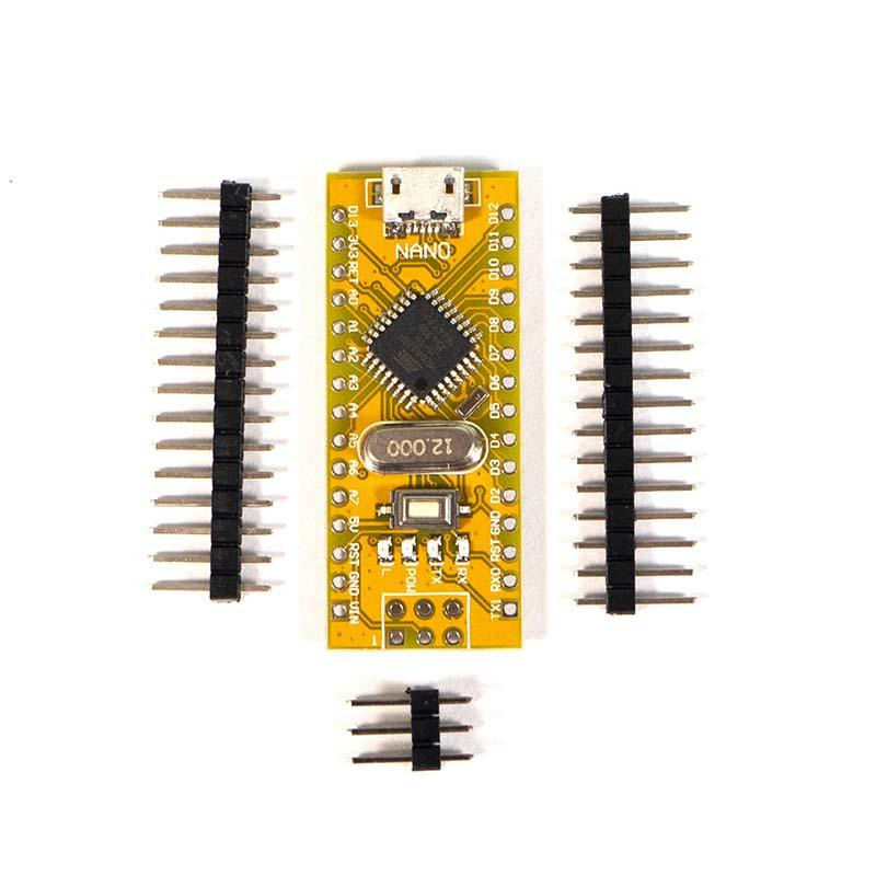 Arduino Nano V3 board with Micro USB connection  headers ready to fit