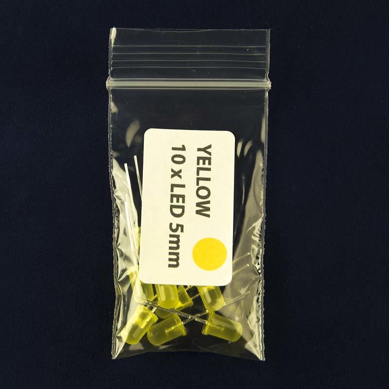 Pack of quantity 10 LED with diffused lens and color yellow