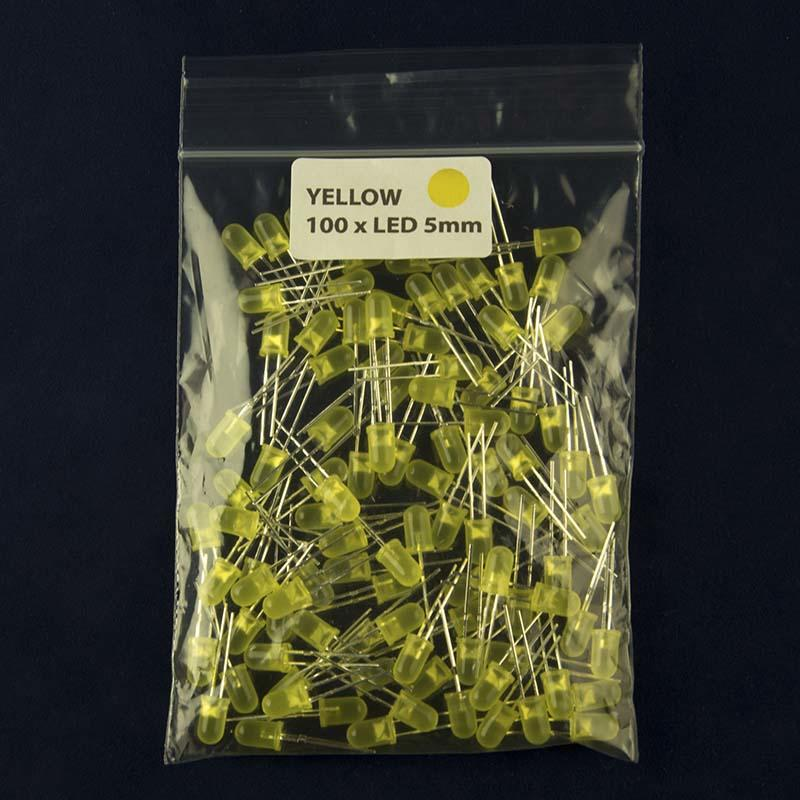 Pack of 100 LED size 5mm with diffused lens and color yellow