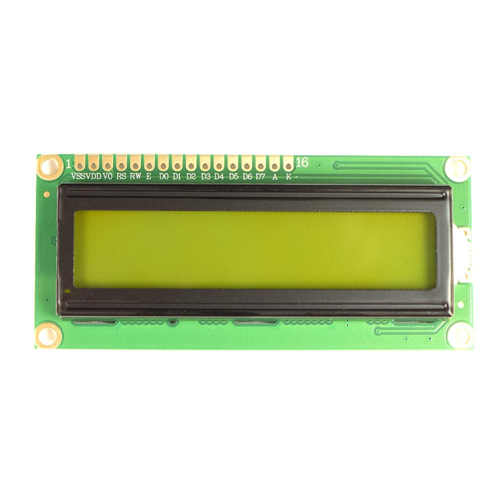 LCD Screen 2 lines and 16 characters with green background and black text