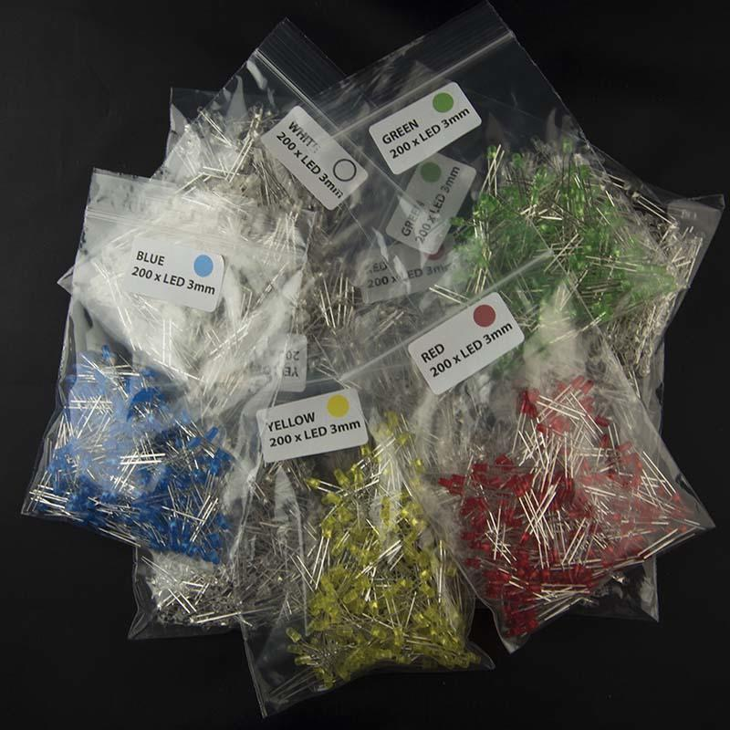 Packs of 200 3mm LEDs in Five Colors