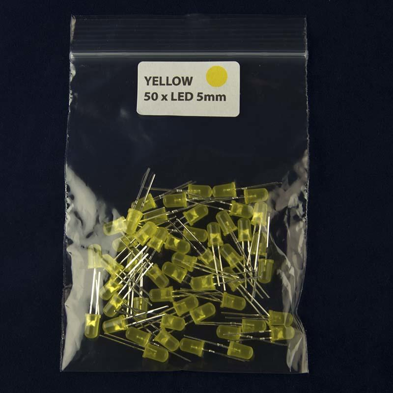 Pack of 50 LED size 5mm with diffused lens and color yellow