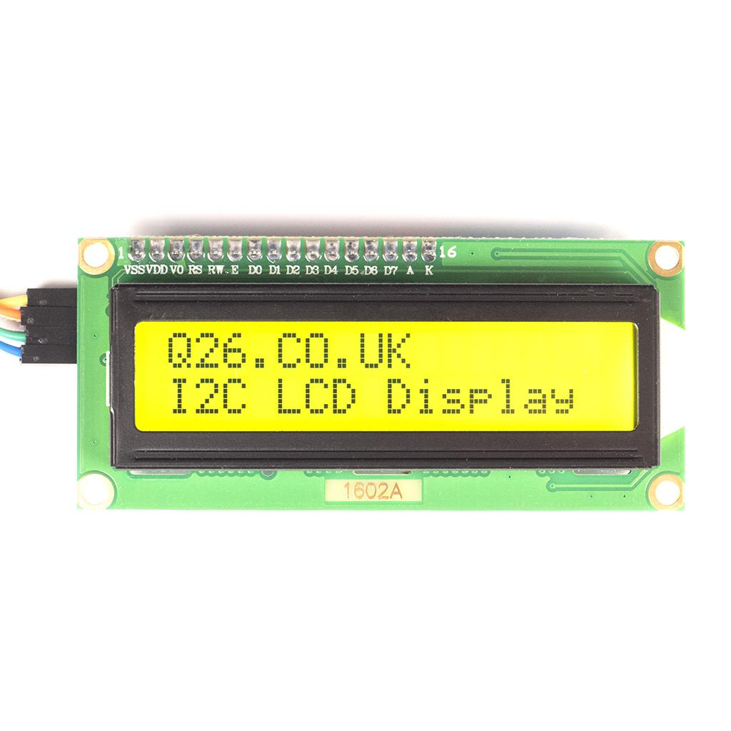 I2C Ready sixteen zero two LCD screen, green background showing 2 lines of black characters, 16 per line