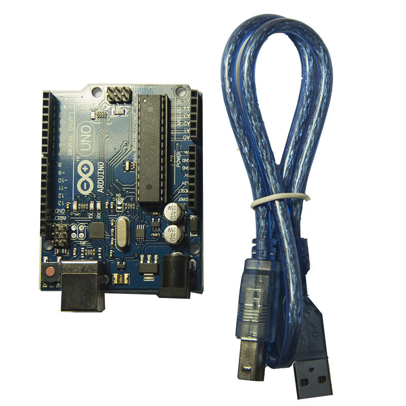 Arduino Uno with USB cable seen from the top