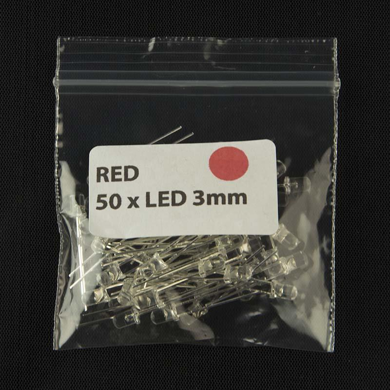 Pack of quantity 50 size 3mm LED with clear lens and red color