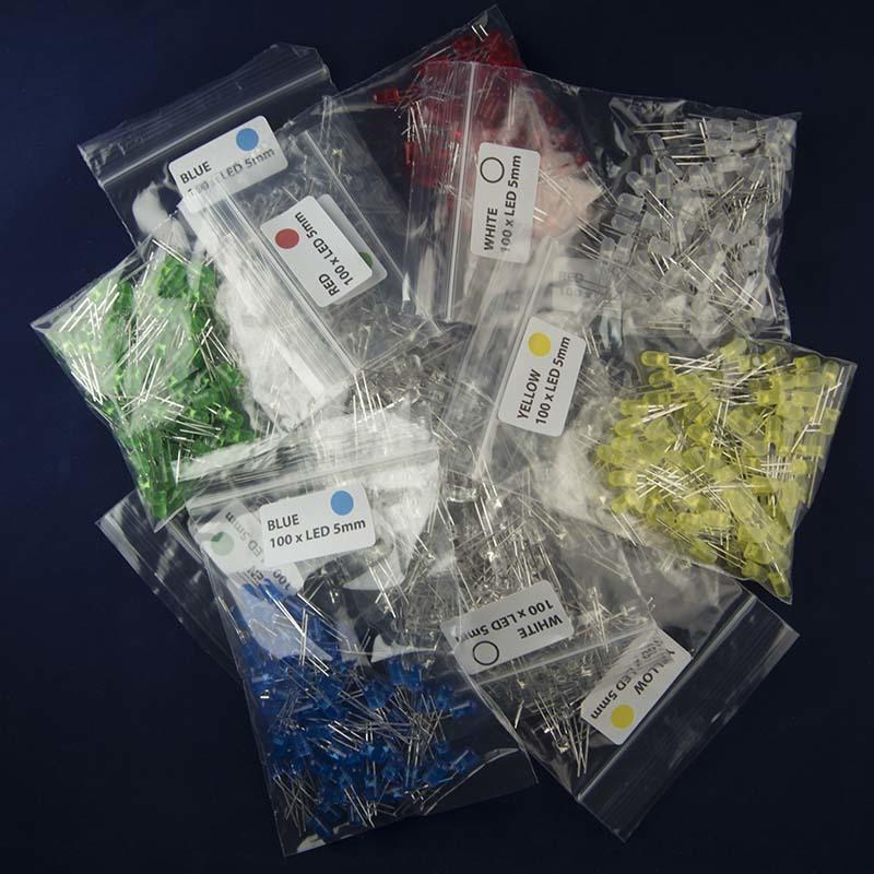 Heap of Packs of 100 5mm LED in Five Colors