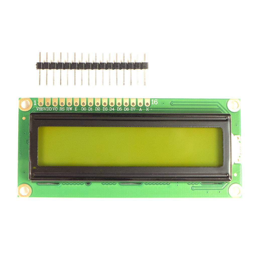 LCD Screen 2 lines and 16 characters with header strip ready to solder - with green background and black text