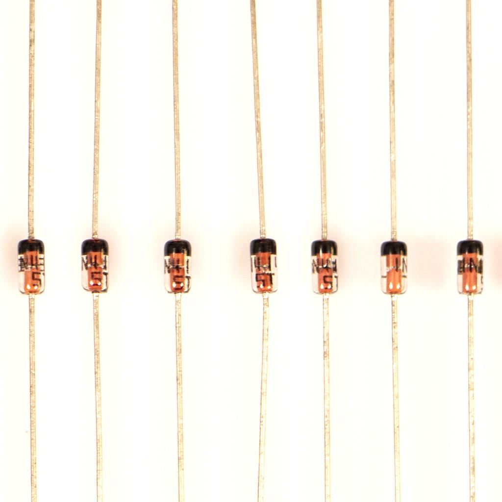 Line of Diodes type 1N4148 in close up view