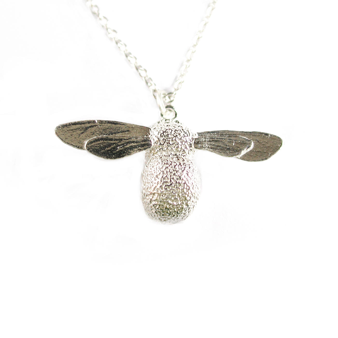 Sterling silver bumblebee necklace Large £150, Small £132 (available in store only)
