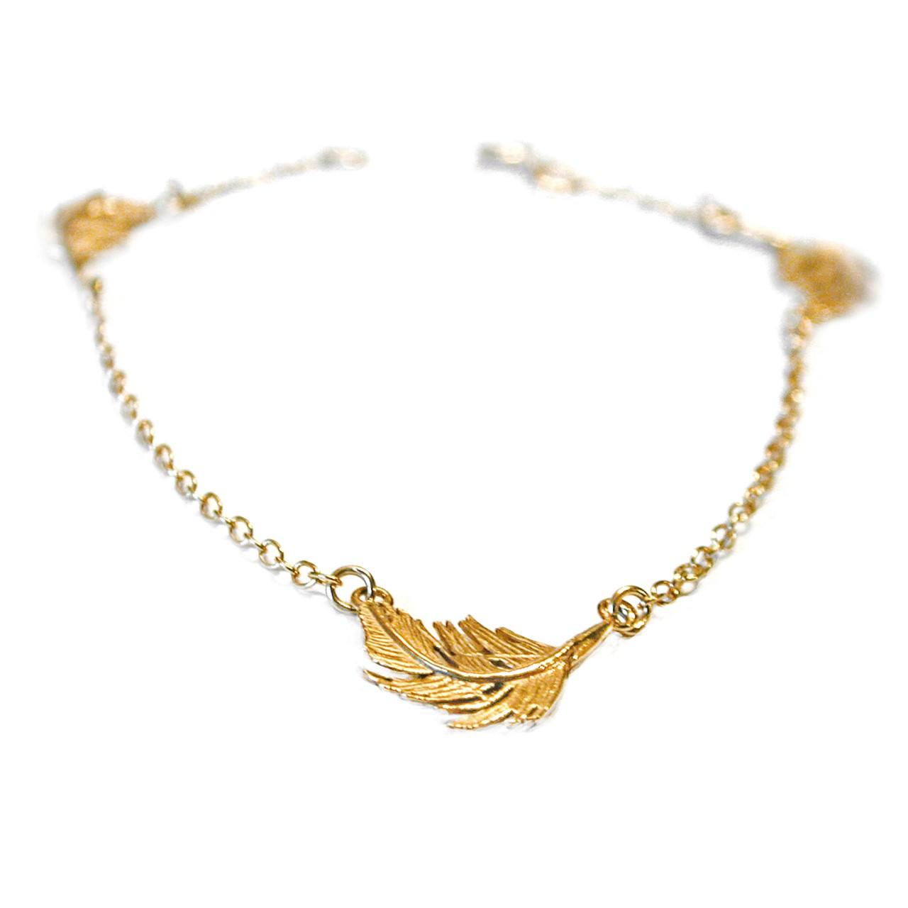 Gold plated on silver three feather bracelet £156 (available in store only)