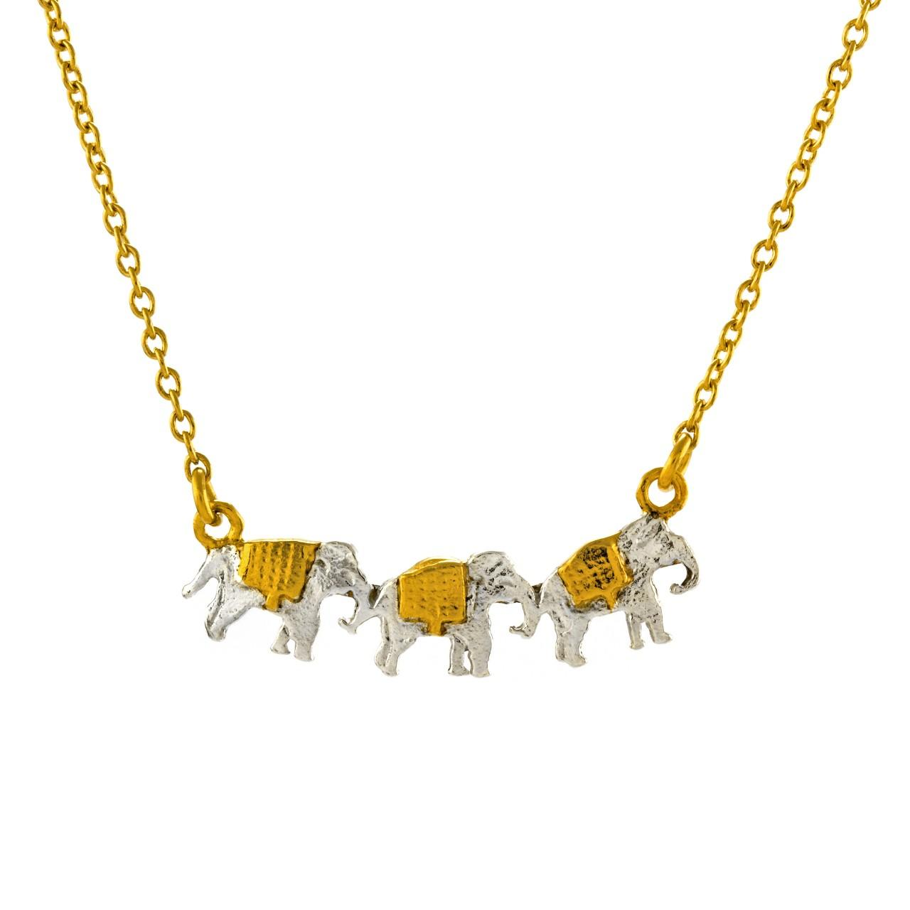 Silver and gold plated marching elephants necklace £135 (available in store only)