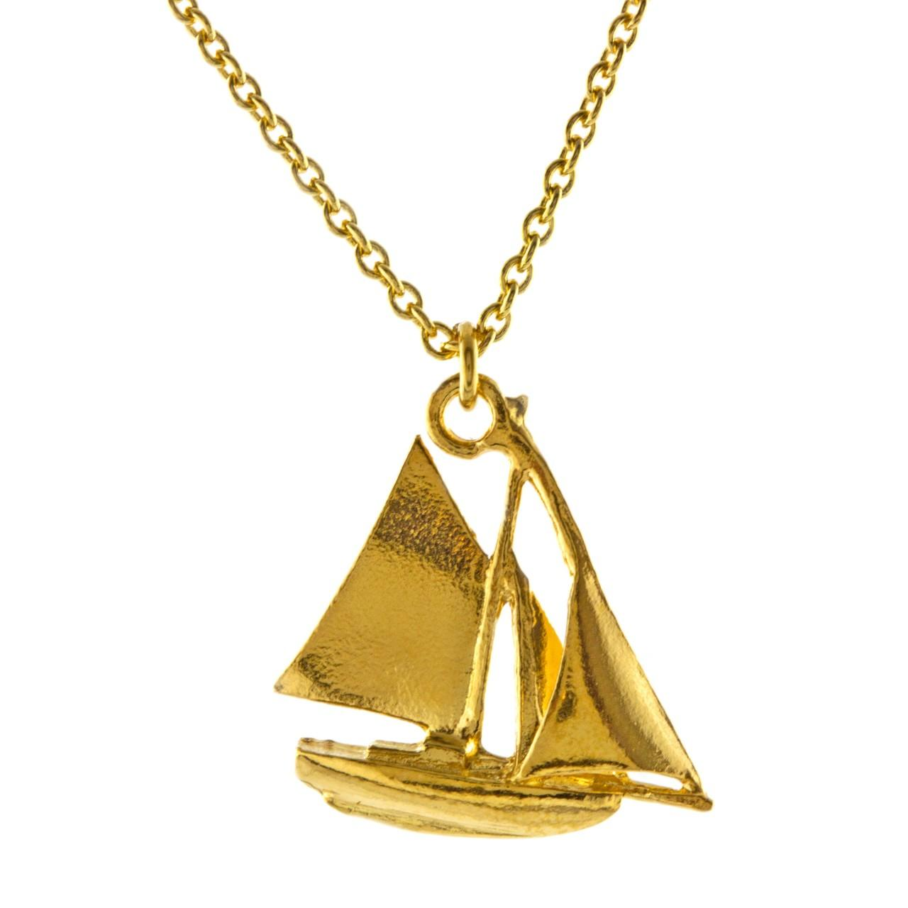 Silver gold plated sailing boat necklace £120 (available in store only)