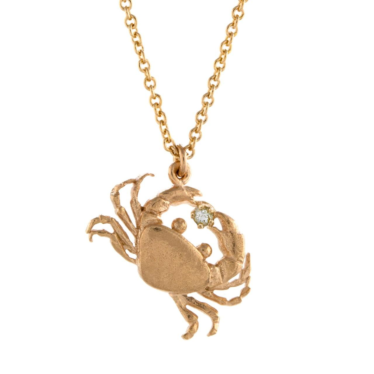 Rose gold plated with diamond cheeky crab necklace £195