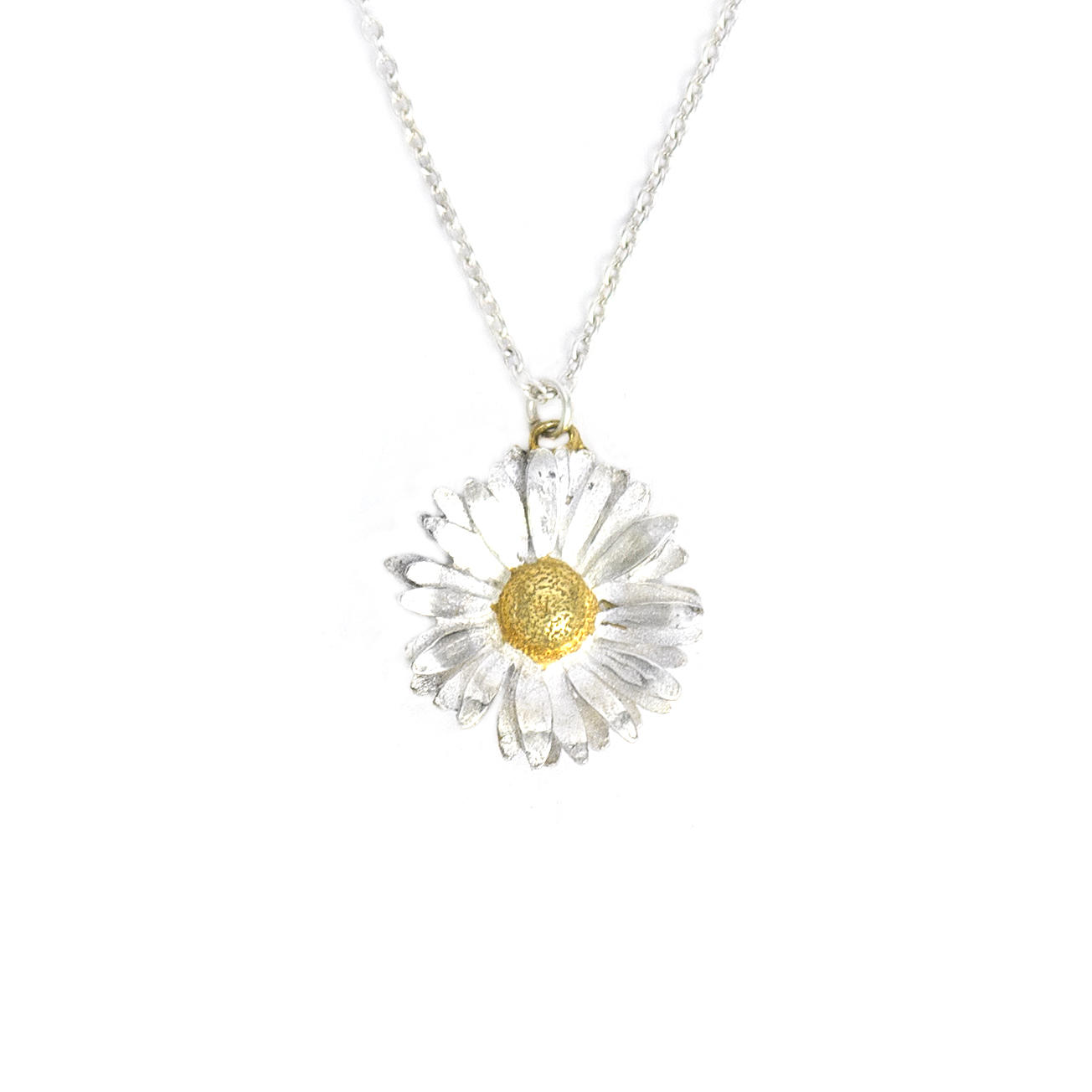 Solid silver and gold plated big daisy necklace £135 (available in store only)