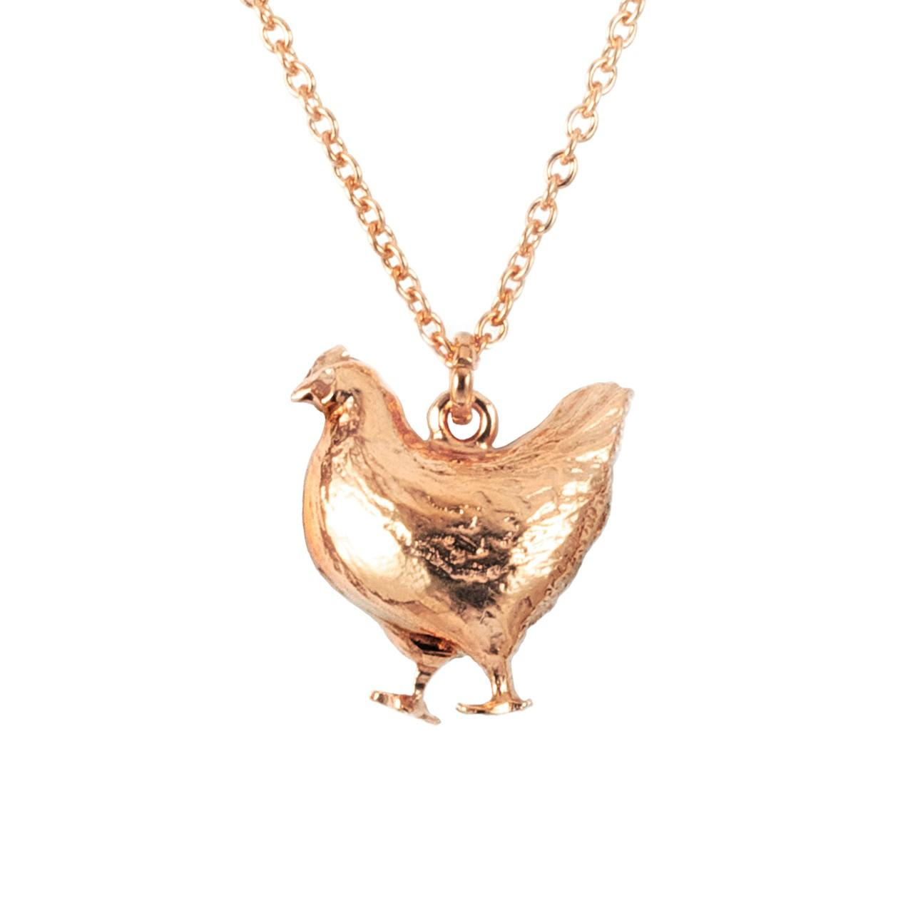 Rose gold plated fat hen necklace £132 (available in store only)