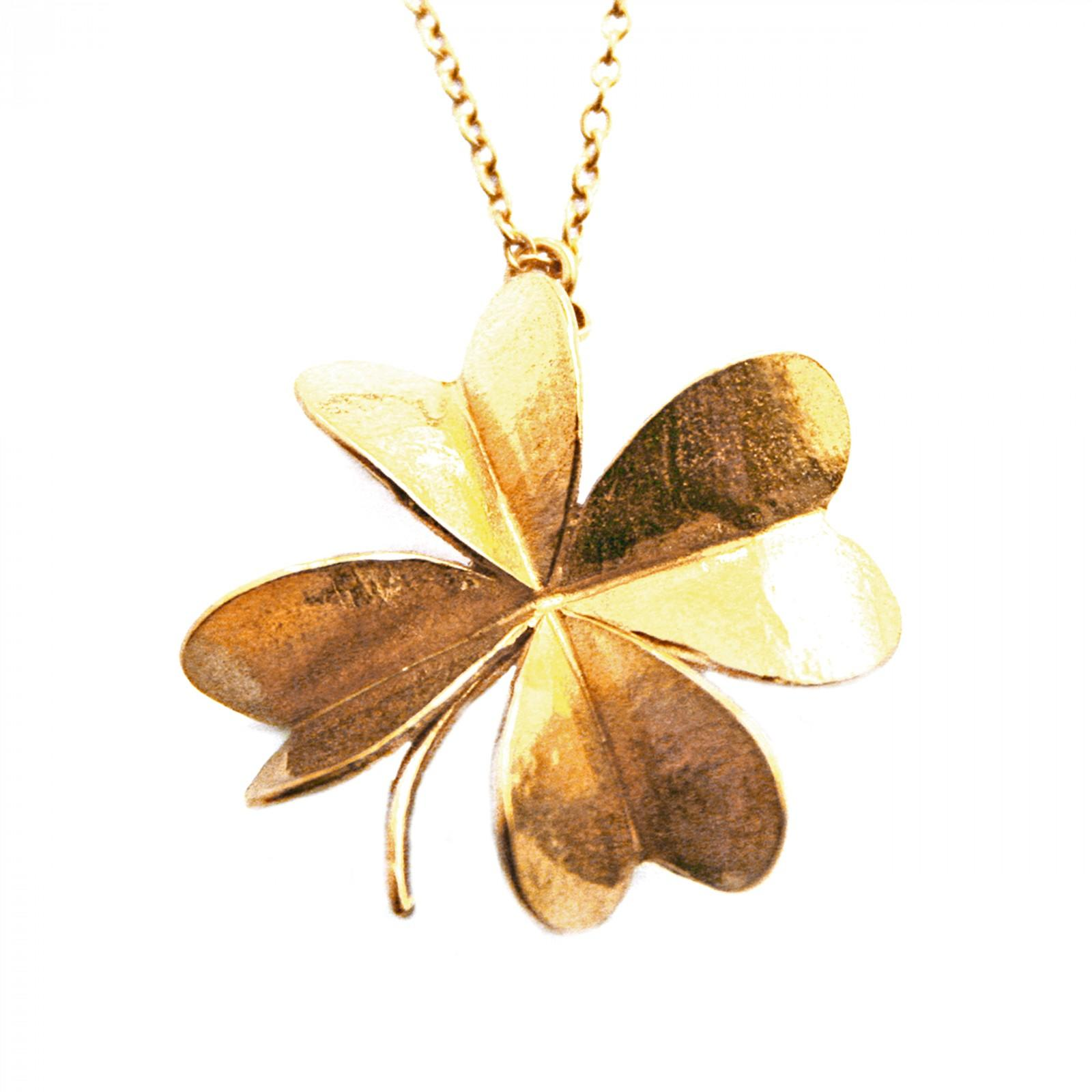 Large lucky clover necklace sterling silver an gold plated £150 (Available In Store Only)