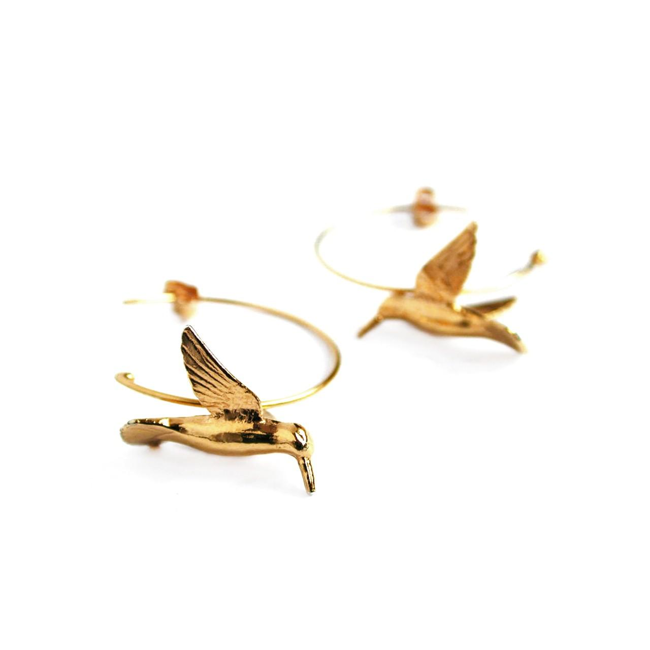 Silver gold plated hummingbird hoop earrings £150 (available in store only)