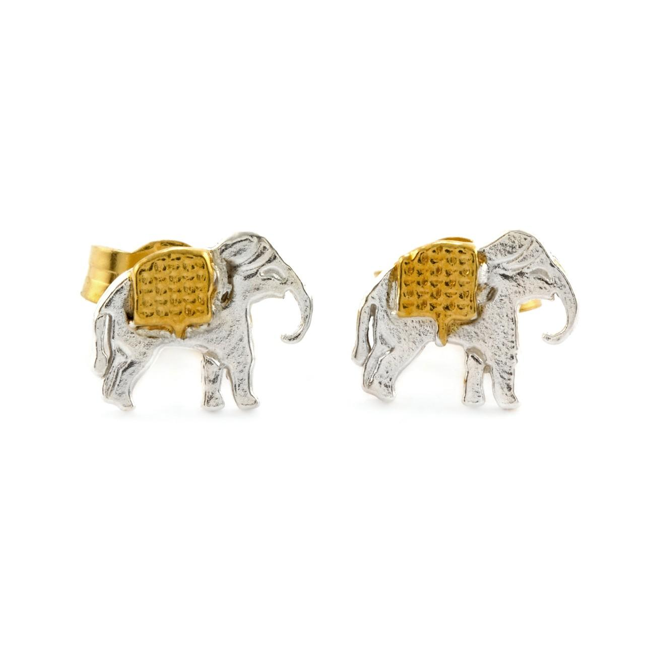 Silver and gold plated marching elephants stud earrings £108 (available in store only)