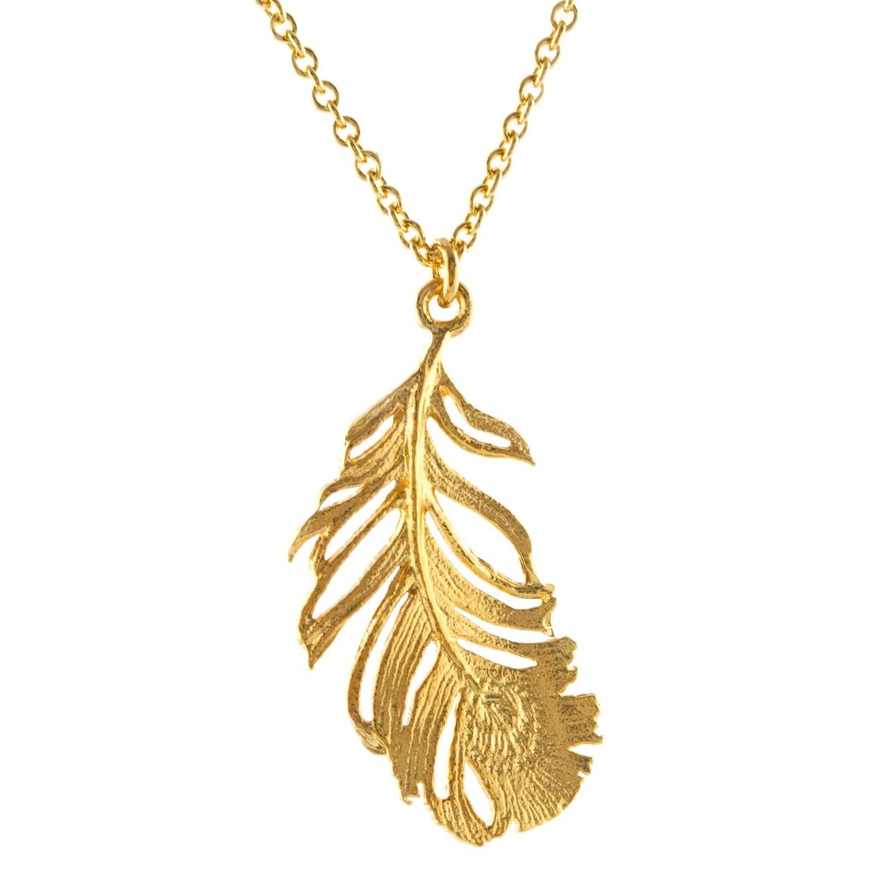 Gold plated on silver large peacock feather necklace £132 (available in store only)
