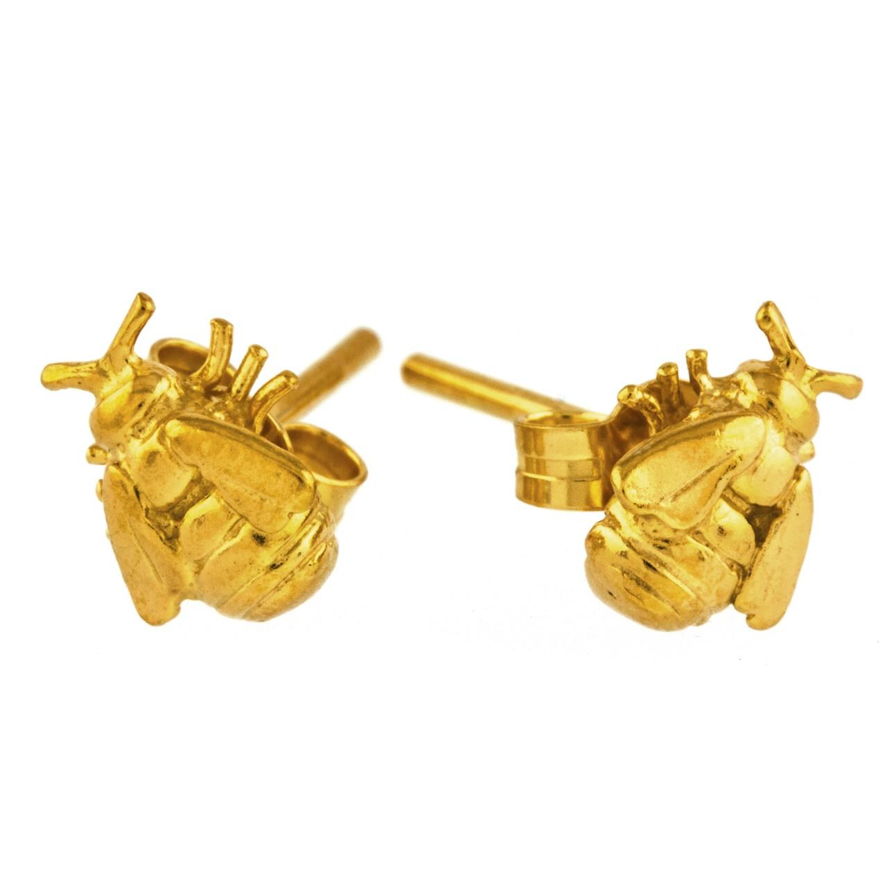 Silver gold plated tiny bee stud earrings  £105 (available in store only)