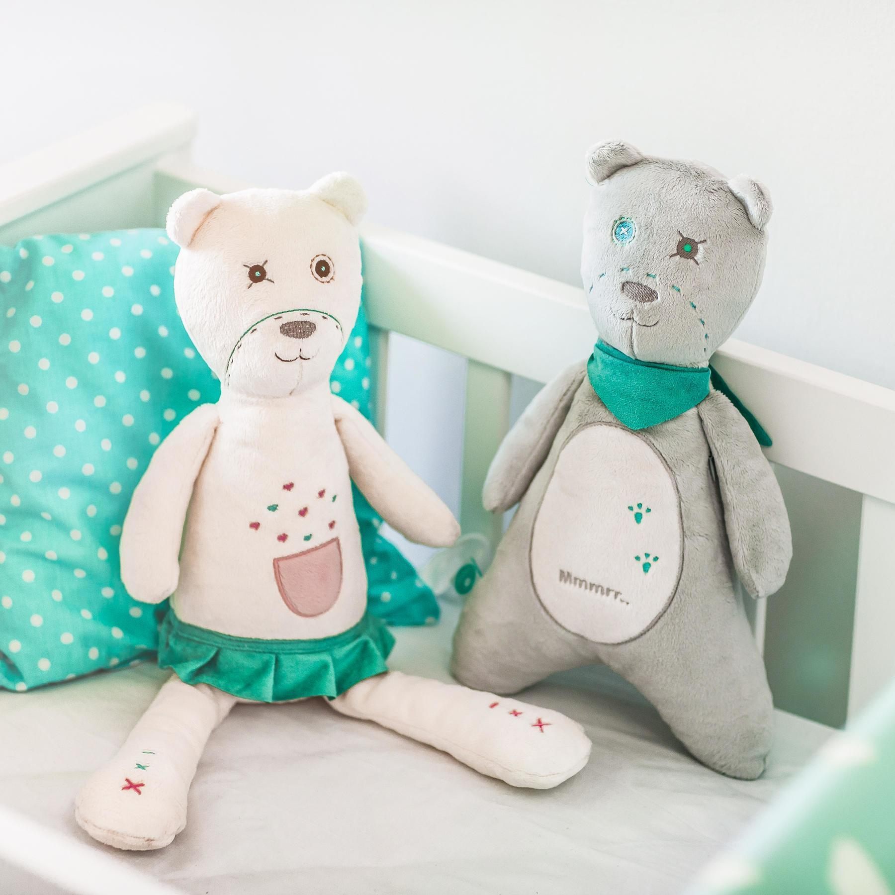 White Noise Teddy Bears - myHummy Pearl and Ash