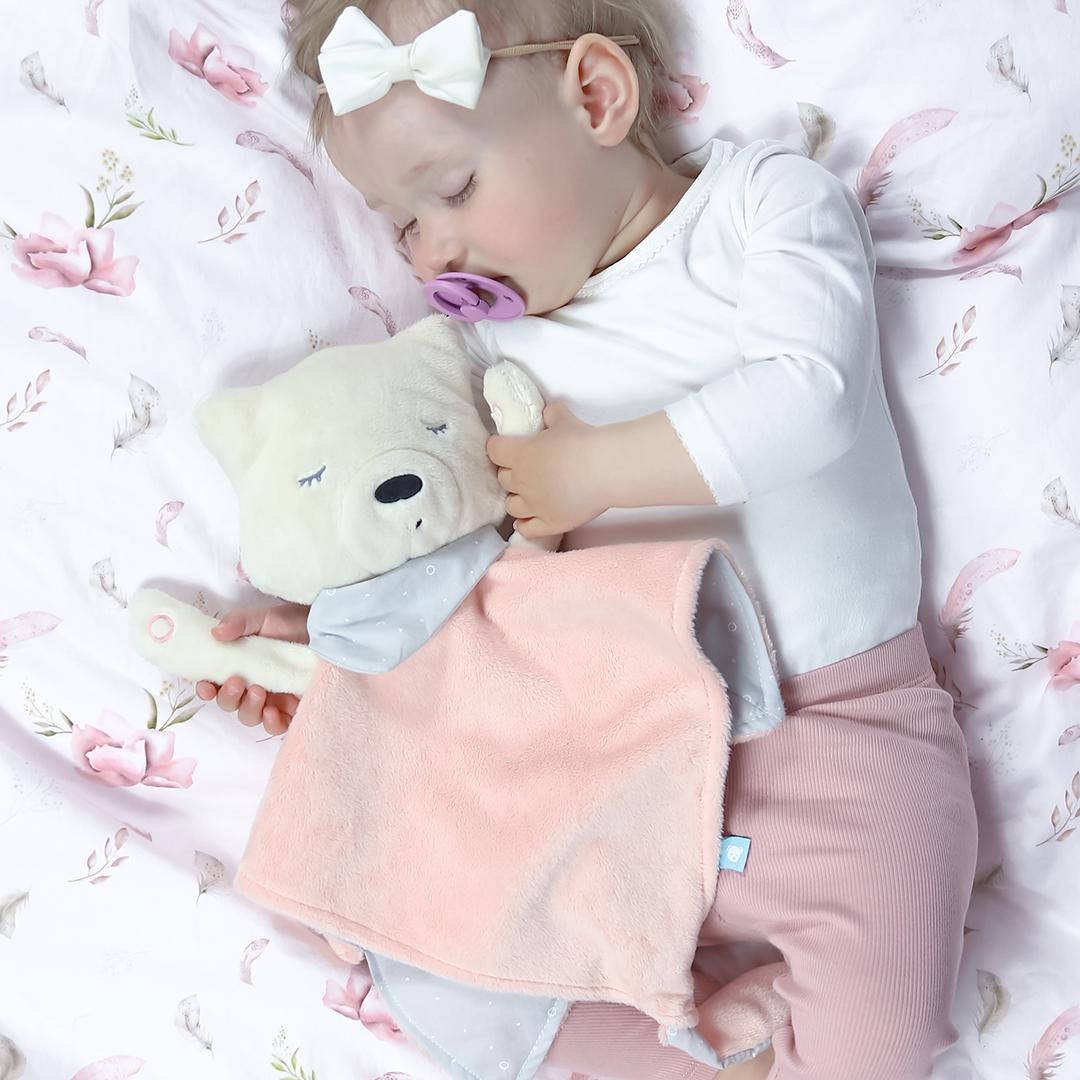 Little Girl Sleeping With Her Pink myCuddly