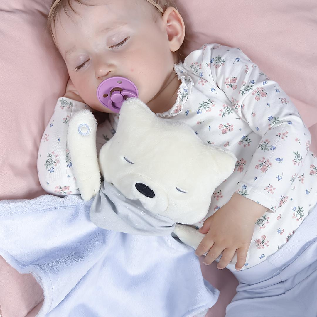 Little Girl Sleeping With Her Blue myCuddly
