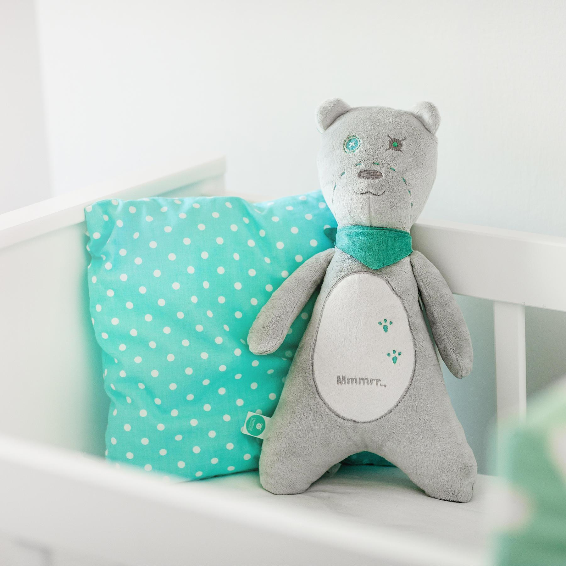 White Noise Baby Soother - myHummy - Ash Teddy Bear
