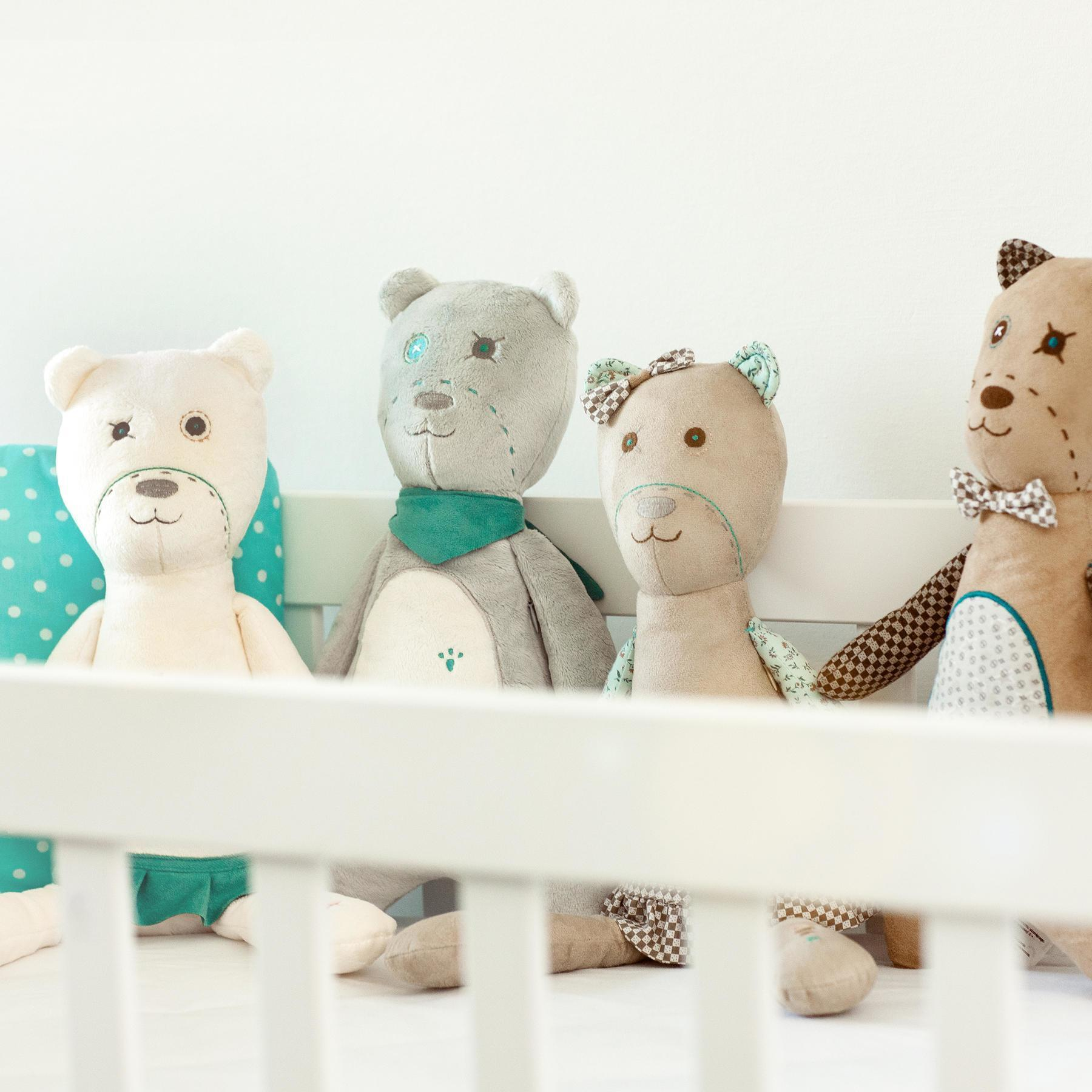 White Noise Teddy Bears - myHummy - Ash, Pearl, Filbert and Fleur