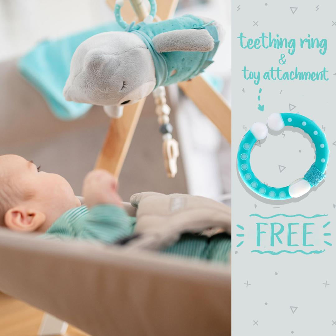 Teether and toy attachment ring