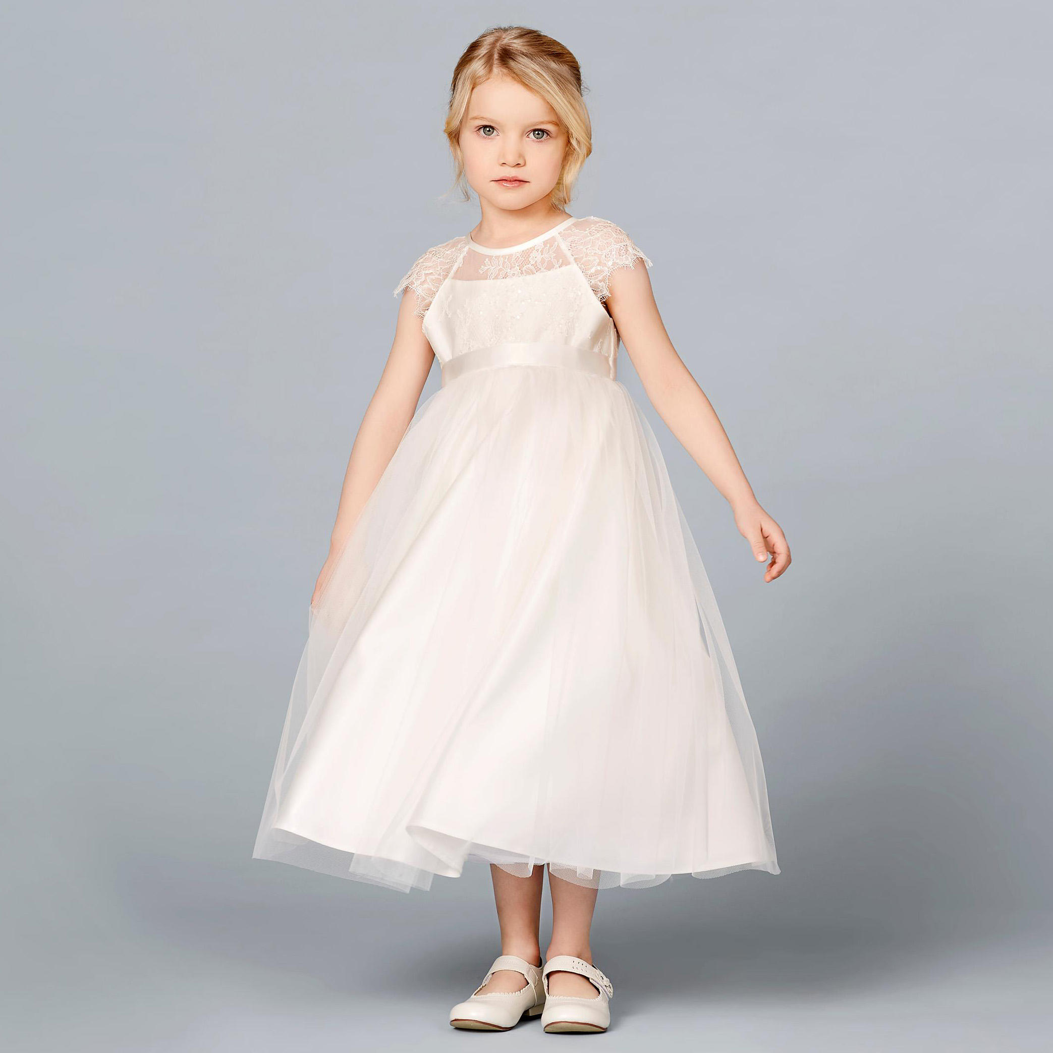 Flower Girl Gowns: Chantilly Lace & Tulle Flower Girl Dress