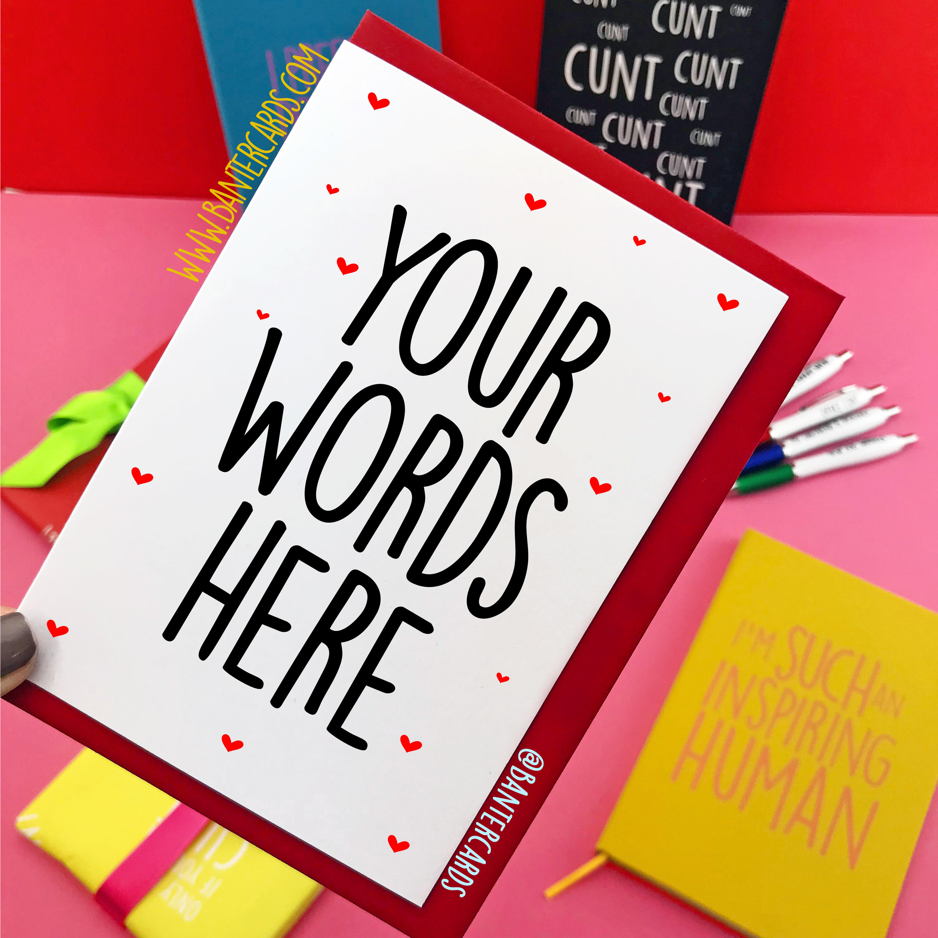 Personalised greeting cards custom greeting cards banter cards completely customised lover heart background your own words 350 banter card m4hsunfo