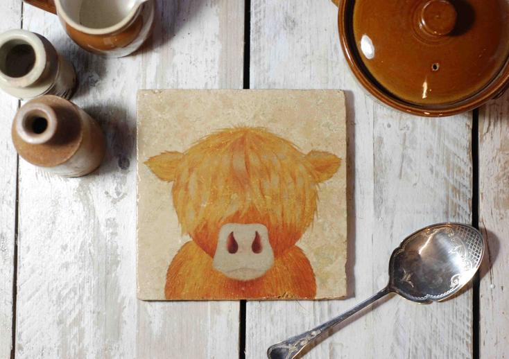 Lucy's Farm Baby Highland Moo Cow Travertine Pot stand and Coaster set
