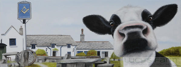 Cow Art at Worth Matravers Square and Compass Pub