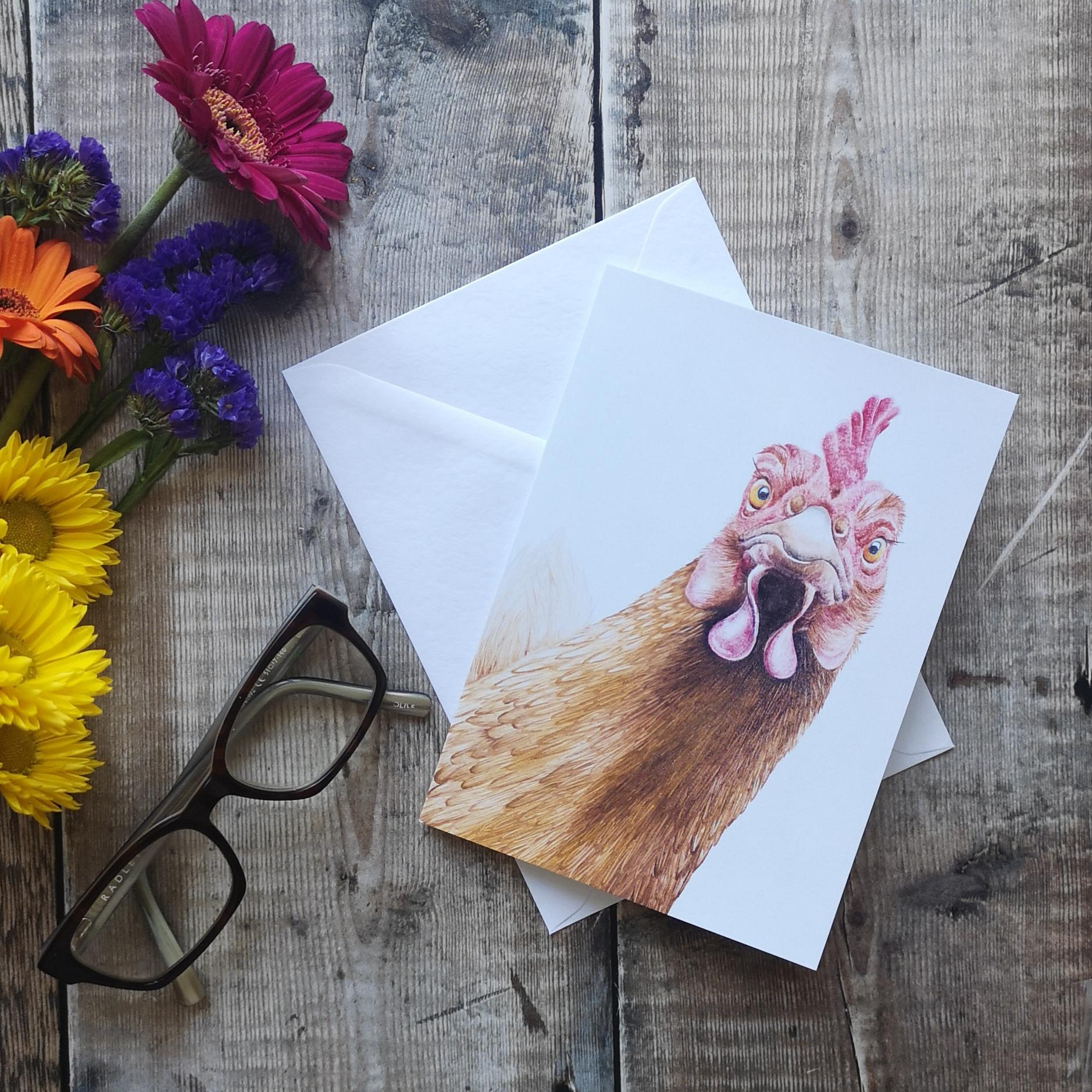 Greeting card with a chicken