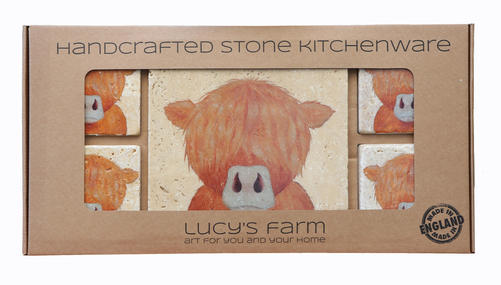 Lucy's Farm Travertine stone Highland Cow Pot stand and Coaster set