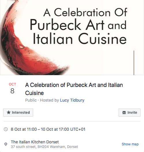 Come & see Lucy at 'A Celebration of Purbeck Art & Italian Cuisine'