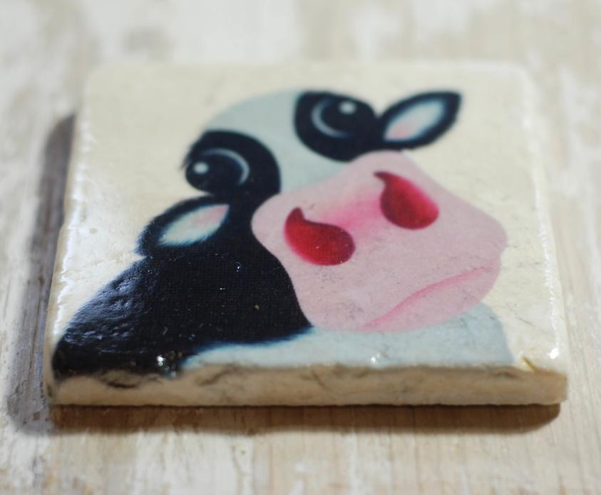 Black & White Cow Moo Travertine Stone Coasters