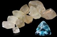 Rough and cut topaz