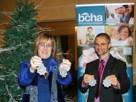 Lorna Trent and Stuart Pool promote the BCHA Christmas Tree Appeal