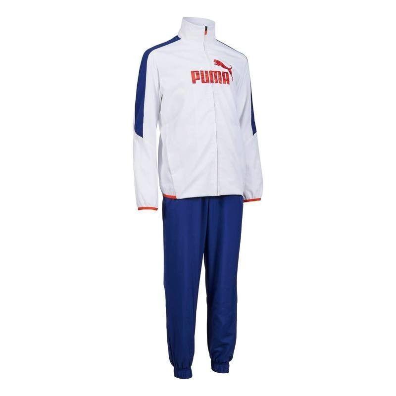 Puma Boys Gym Tracksuit White Blue Red