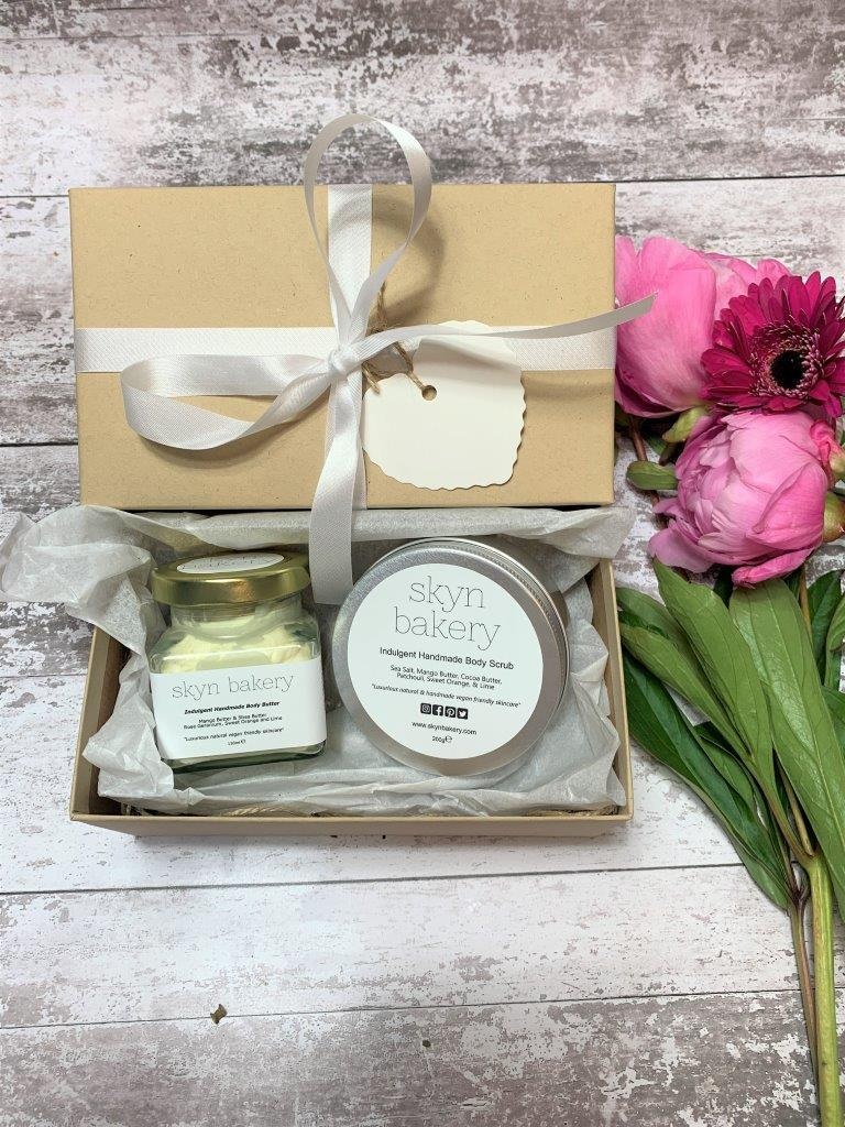 Handmade body butter and body scrub gift set