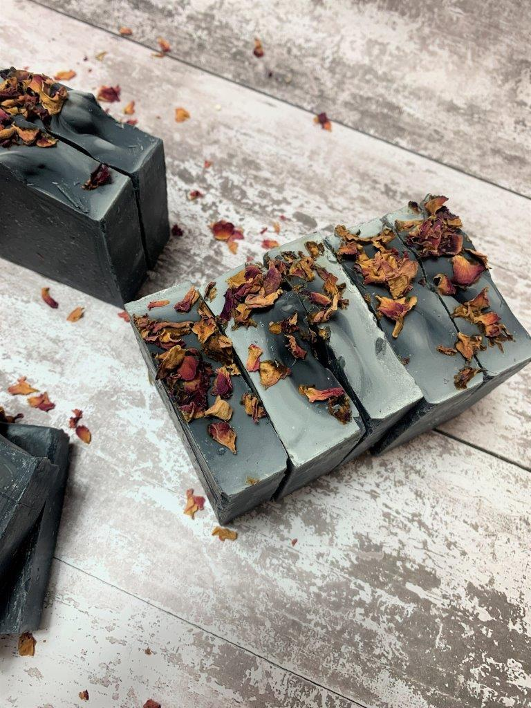 Activated Charcoal Handmade Soap with Dried Rose Petals in Plastic Free Packaging