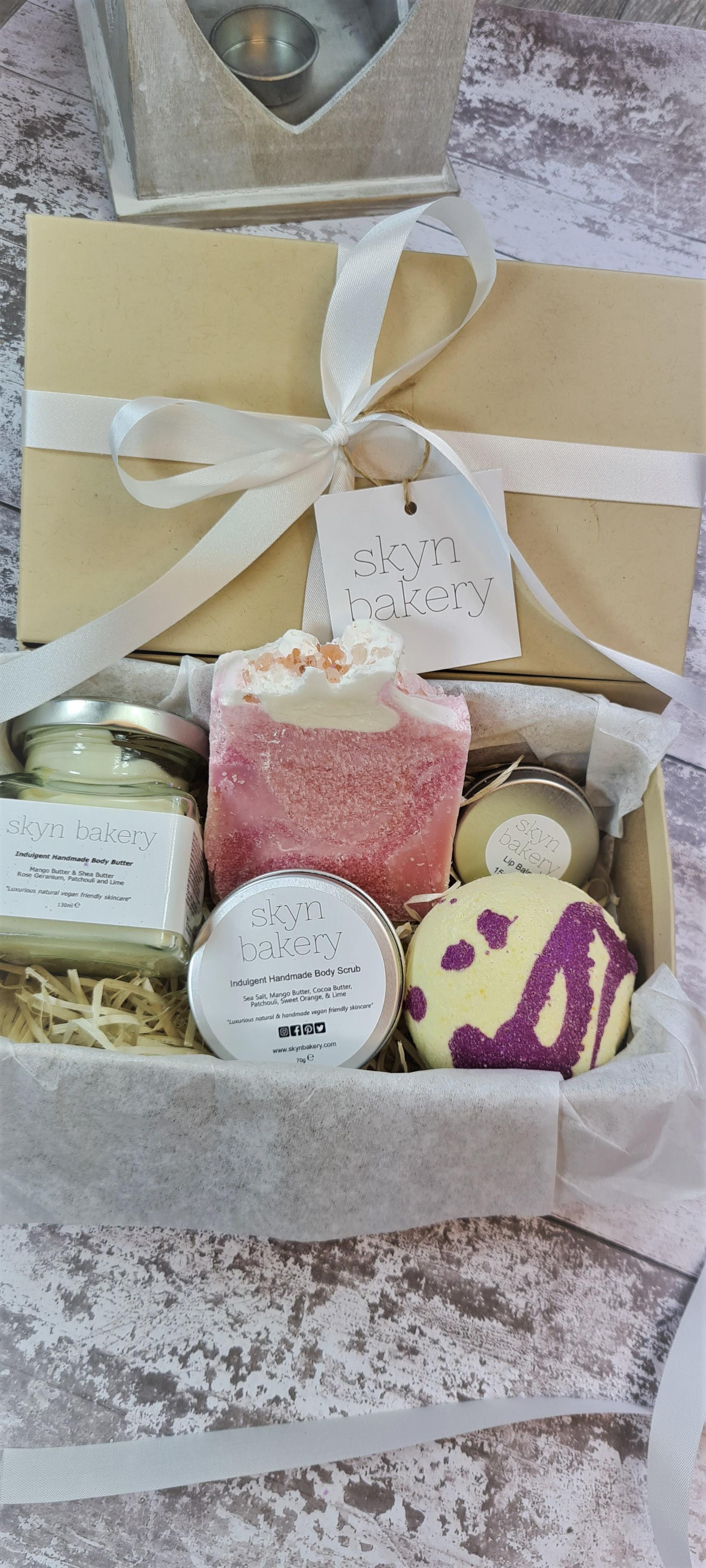 Gift Set Containing Body Scrub, Body Butter, Handmade Soap And Lip Balm in Plastic Free Packaging Closed