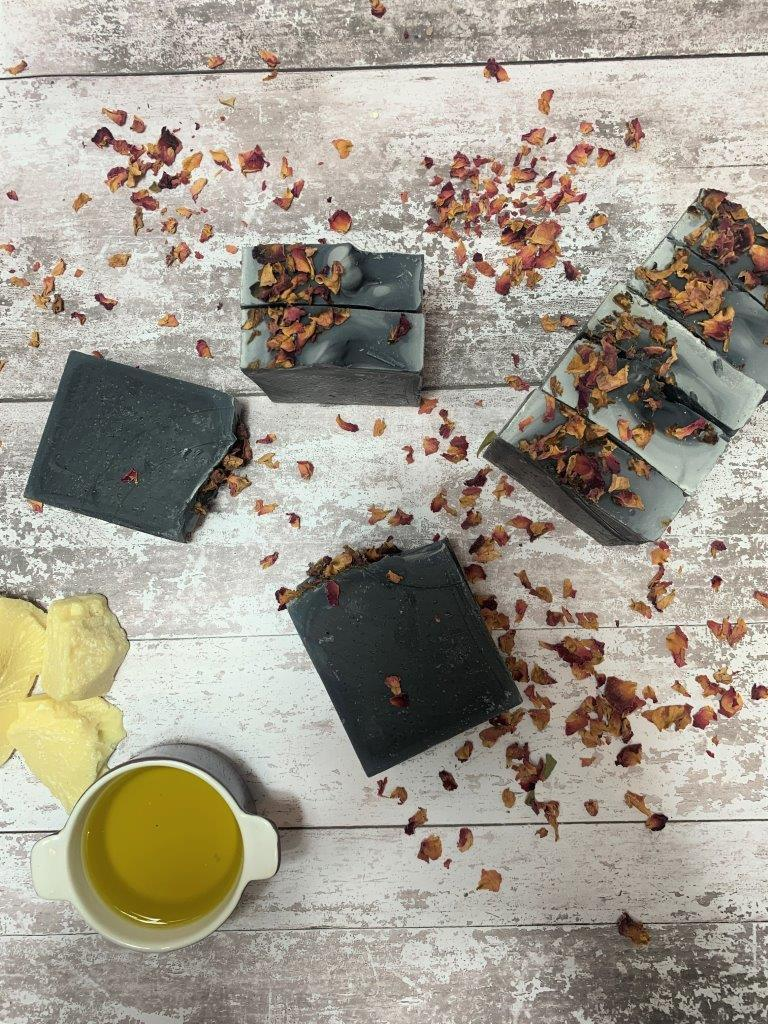 Standing Activated Charcoal Handmade Soap with Dried Rose Petals in Plastic Free Packaging
