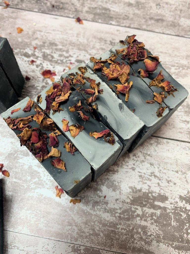 Activated Charcoal and Tea Tree Handmade Soap with Dried Rose Petals in Plastic Free Packaging