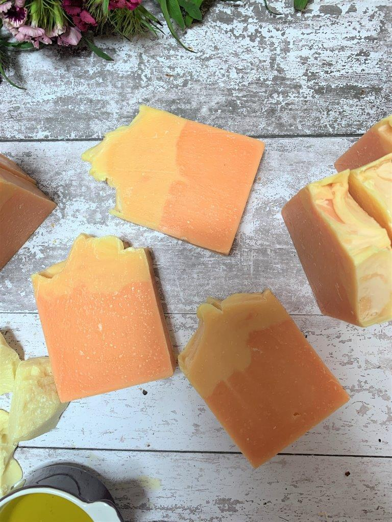 Lemongrass, Lime And Black Pepper Handmade Soap in Plastic Free Packaging Laid Flat